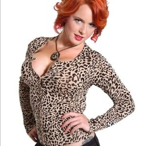 Voodoo Vixen Leopard Print Cardigan Small PERFECT!